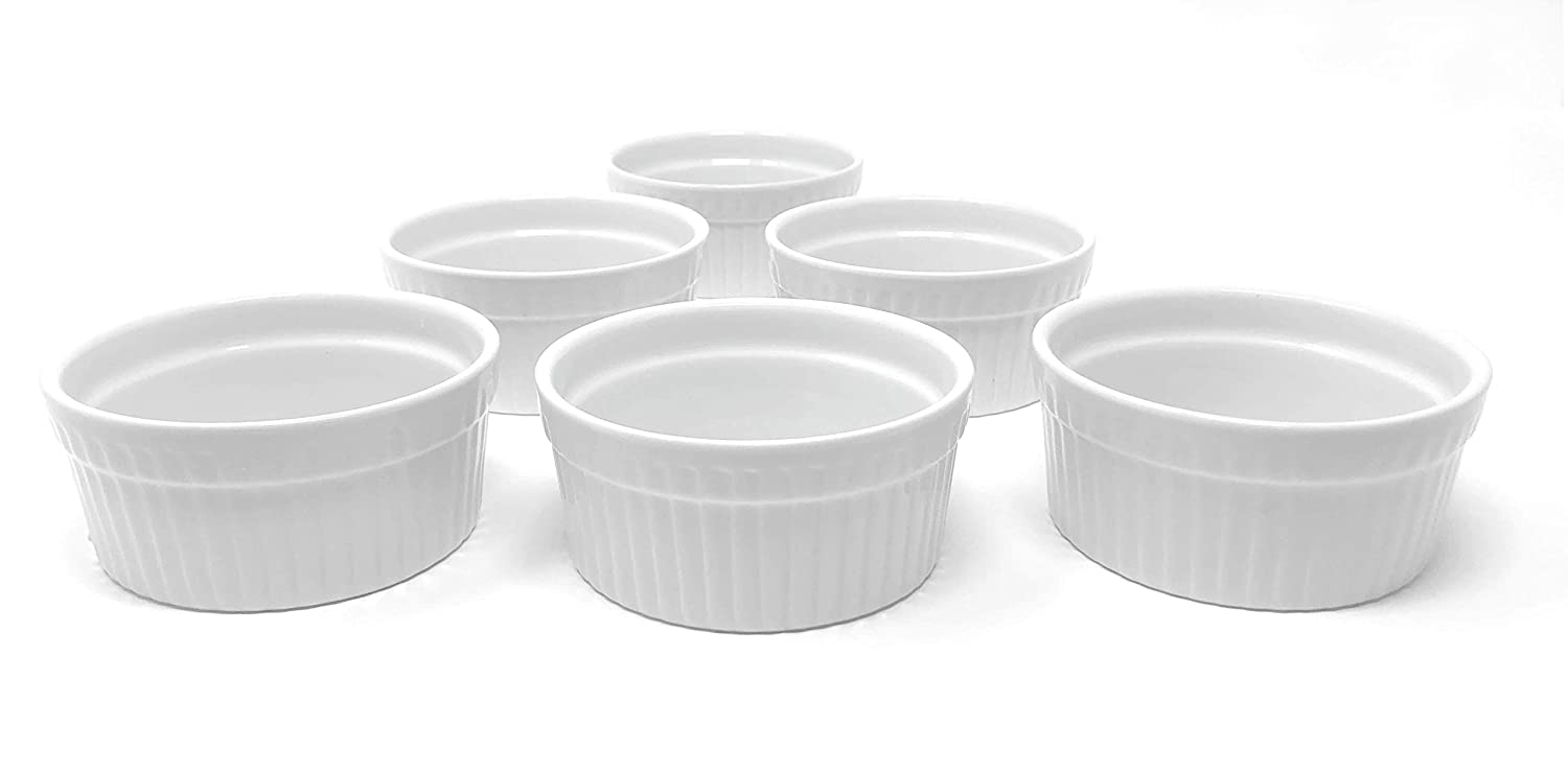 Furmaware White Porcelain 3oz Ramekins Set: 6-Piece Baking & Serving Individual Ramekin Bowls| Sturdy & Classy No Odor & Easy To Clean Ramekin Cups| Decorative Soufflé, Sauce, Dressing & Dip Ramekins 6.1cm