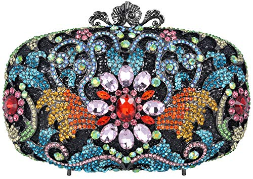 Luxury Crystal Clutch for Women Rhinestone Evening Bag (Colorful B)