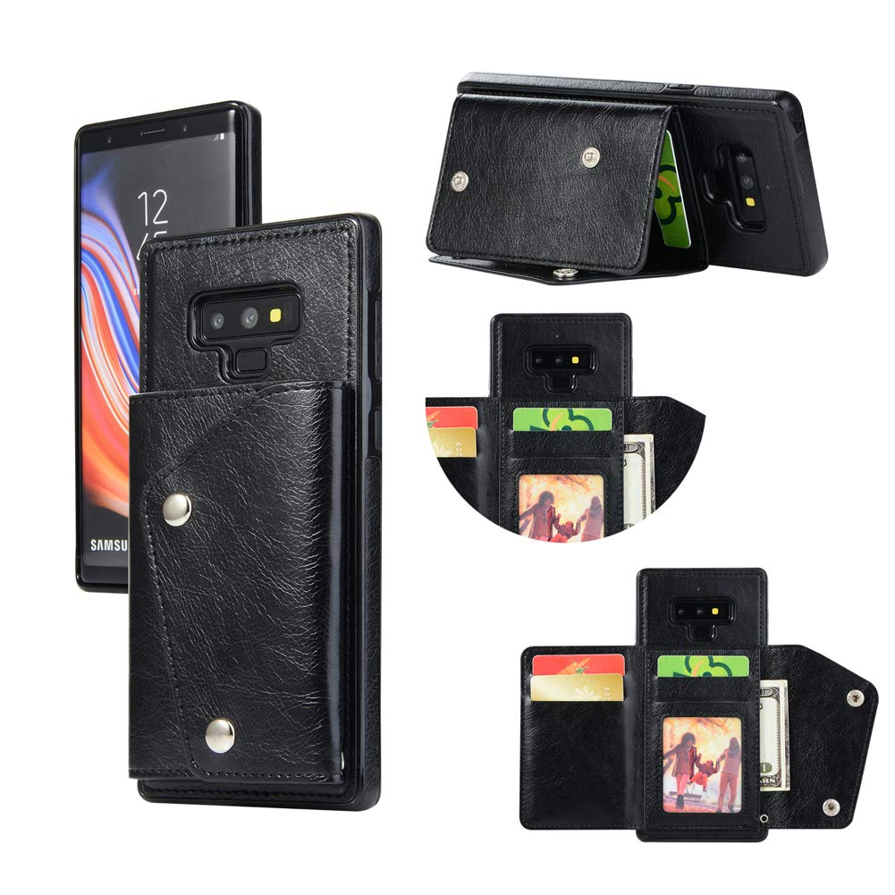 ea0c6dbe0159 Galaxy Note 9 Wallet Back Case with Card Holder-Welegant PU Leather  Kickstand Flip Phone Case [Wrist Lanyard] Magnetic Clasp Durable Shockproof  Skin ...