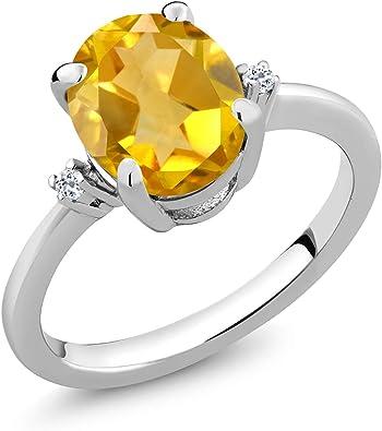 Citrine Yellow Stone Silver Ring Gemstone 925 Sterling Silver fine-Looking Genuine Yellow Ring