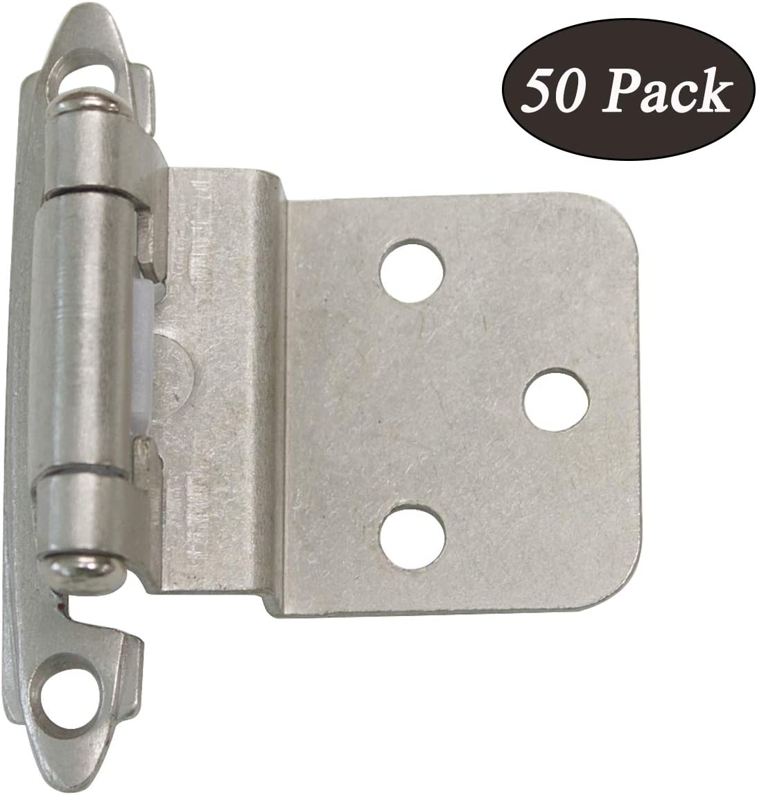 """50 PCS Probrico HMCH198-SN Decorative Self Closing Face Mount Kitchen Cabinet Hinges Step 3/8""""in Overlay Brushed Satin Nickel"""