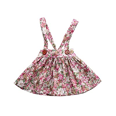 AliveGOT 0-3T Newborn Baby Girls Floral Print Straps Backless Dress Overall Outfits Clothes Princess Dress
