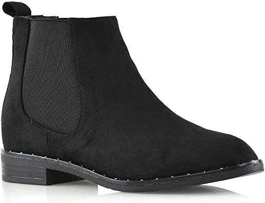 ESSEX GLAM Womens Chelsea Biker Elasticated Black Faux Suede Casual Ankle Boots 6 B M US
