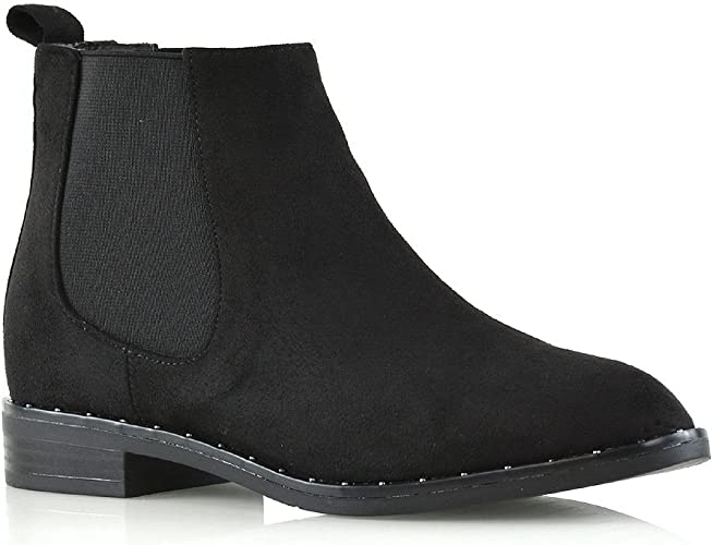 WOMENS LADIES MID LOW HEEL PLATFORM CHELSEA ANKLE BOOTS SHOES WORK GUSSET SIZE