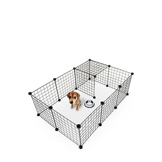 Ducomi Recinto para Perros de Exterior e Interior - Valla Metálica con Paneles para Pequeños Animales Domésticos - Jaula Modular Desmontable de Hierro ...