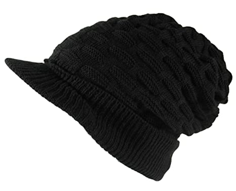 bb1cf267299 Itzu Unisex Cable Knit Peaked Visor Beanie Cap Hat Thick Warm Waffle in  Black  Amazon.co.uk  Clothing