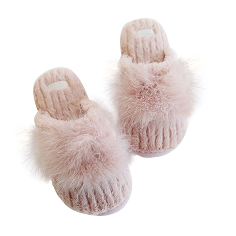 Chic Chic Women Comfort Cute Ball Faux-Fur Indoor Slippers Anti-Slip House Shoes (US 7/7.5=EU 38/39, Pink)