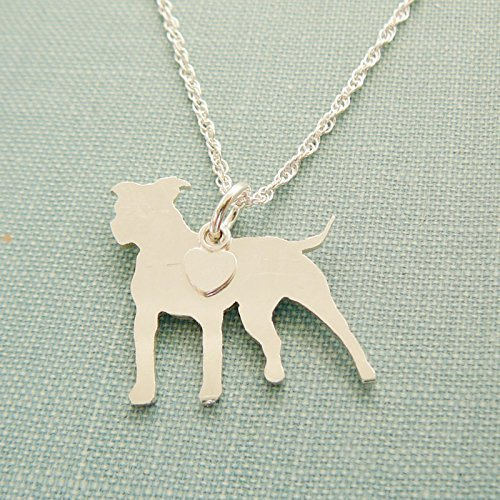Amazon 925 sterling silver standing pitbull dog charm necklace 925 sterling silver standing pitbull dog charm necklace pet memorial silhouette jewelry aloadofball Choice Image