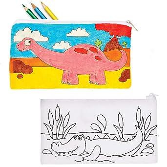 Baker Ross Estuches de Lápices de Tela de Dinosaurio para Colorear Baker Ross AT678 (paquete de 4) para proyectos de arte y manualidades para niños, surtidos: Amazon.es: Industria, empresas y ciencia