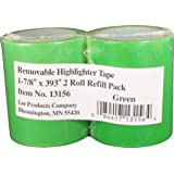 "Lee Removable Highlighter Tape, 1-7/8"" Wide x 393"" Long, 2-Roll Refill Pack, Green (13156)"