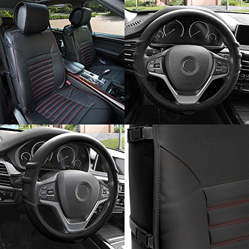 FH Group FH-PU206102 Multifunctional Quilted Leather Seat Cushions Pair Set + FH3003 Silicone Steering Wheel Cover w. Grip Marks, Black w. Red Trim Color- Fit Most Car, Truck, Suv, or Van (Traditional Trim Malibu)