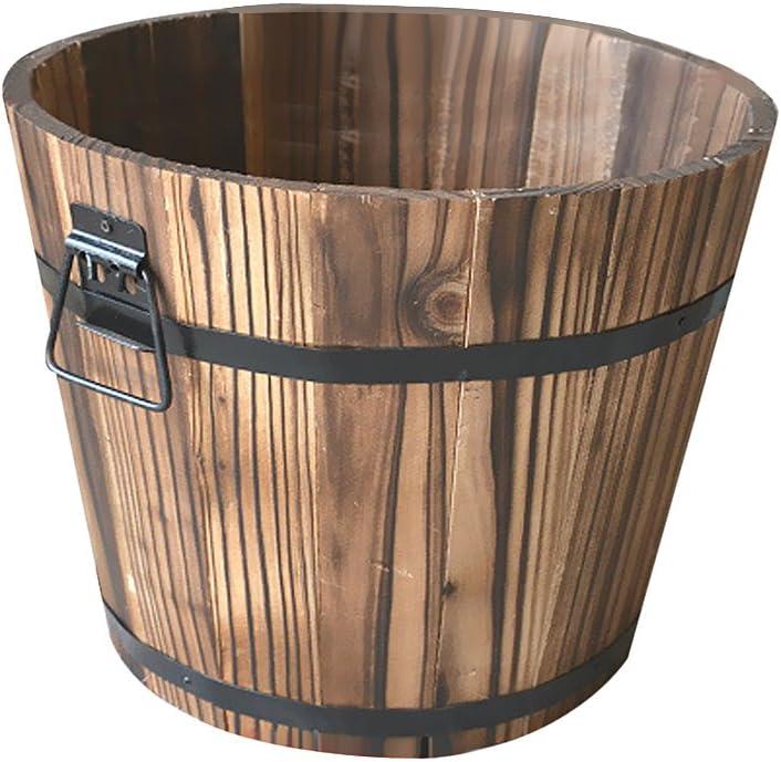 MonkeyJack Wooden Barrel Pot Planter Outdoor Garden Plant Flower Bucket Rustic Decor 2 Sizes 3 Kinds - #1, S