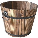 MagiDeal Secchio Di Legno Vasi di Fiori Planter Fiore Barile Patio Giardino Esterni Casa Decor - #1, M