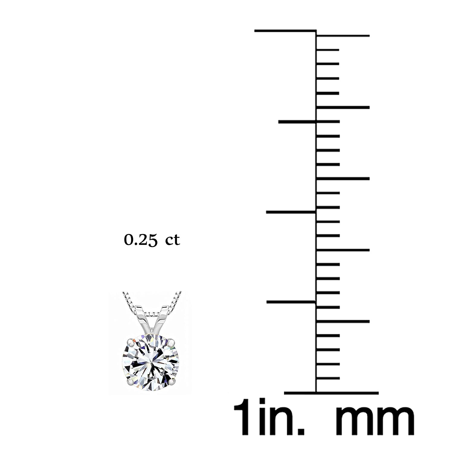 14k White or Yellow Gold 4-Prong Round Solitaire Pendant Made with Swarovski Zirconia