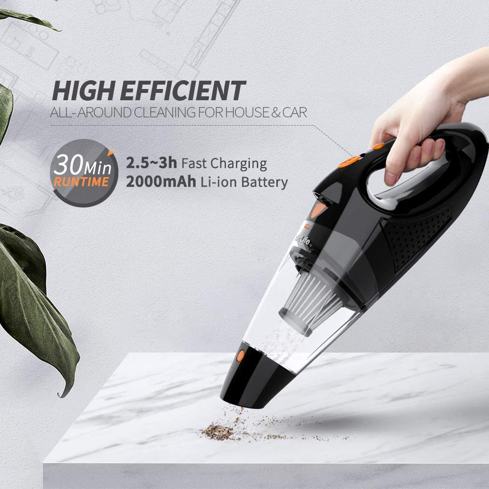 Vaclife Handheld Vacuum, Hand Vacuum Cordless with High Power, Mini Vacuum Cleaner Handheld Powered by Li-ion Battery Rechargeable Quick Charge Tech, for Home and Car Cleaning, Black & Orange -