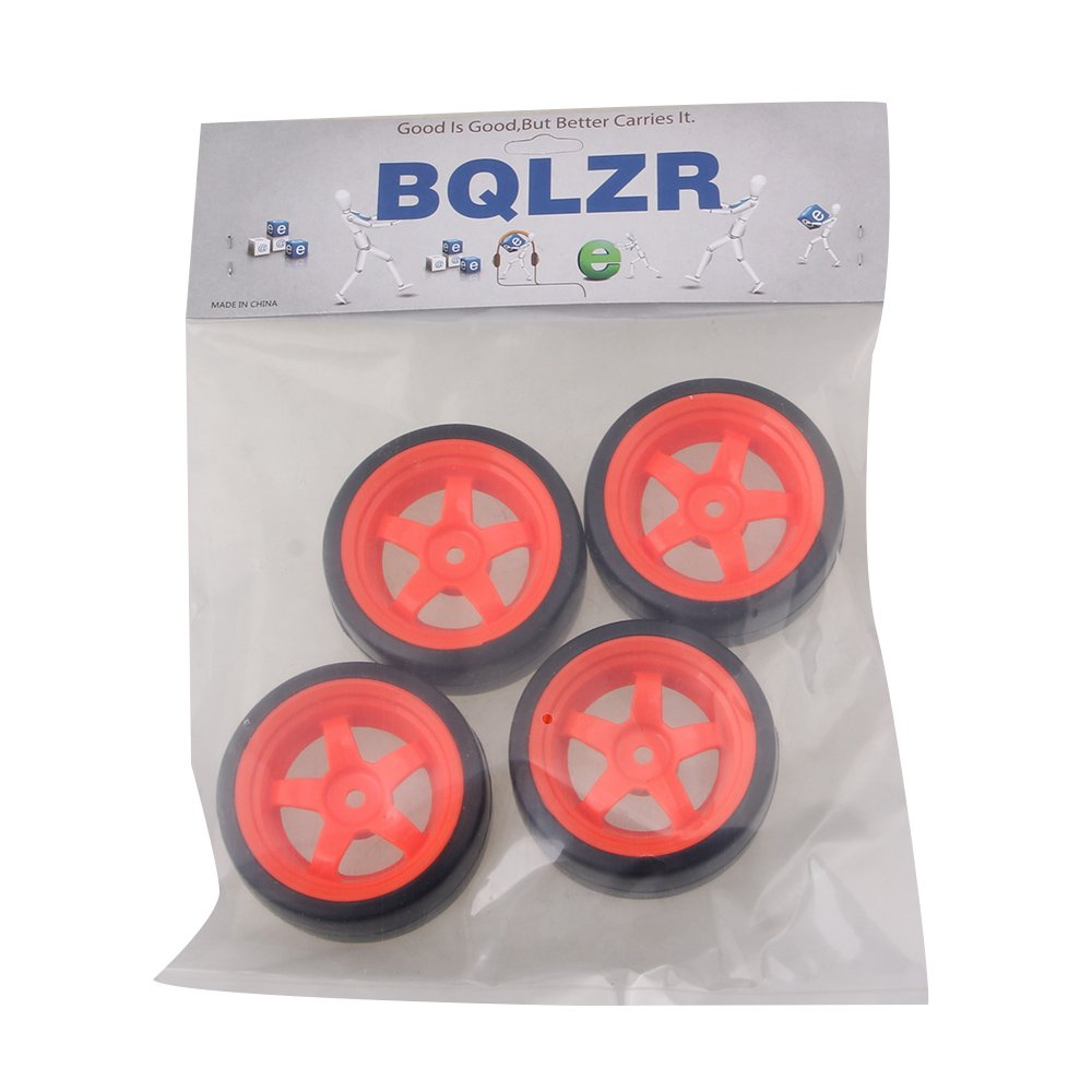 BQLZR 65 mm OD Black Plastic Drift Smooth Tires with Red Plastic 5-Spoke Wheel Rims for RC 1: 10 On Road Racing Car Pack of 4