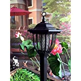 Solar Powered Electric Bug Light Zapper- Outdoor Cordless Flying Insect Killer- 8 Hour Operation- Beautiful Garden Lamp- Portable LED Machine- Best Stinger for Mosquitoes/ Moths/ Flies & More (Black)