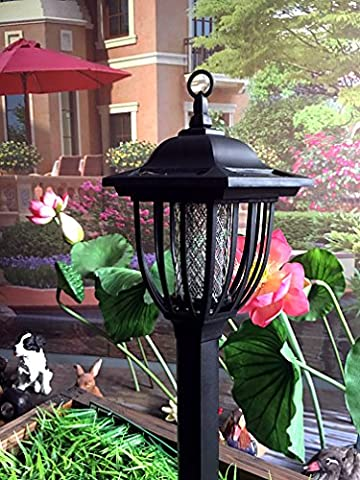 Solar Powered Electric Bug Light Zapper- Outdoor Cordless Flying Insect Killer- 8 Hour Operation- Beautiful Garden Lamp- Portable LED Machine- Best Stinger for Mosquitoes/ Moths/ Flies & More (Moth Killing)