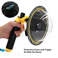 Vicdozia Telesin 6'' Dome Port Lens for GoPro Hero 5, Hero 6 with Waterproof Housing Case, Hand Floating Grip and Trigger Transparent Cover Diving Underwater Photography