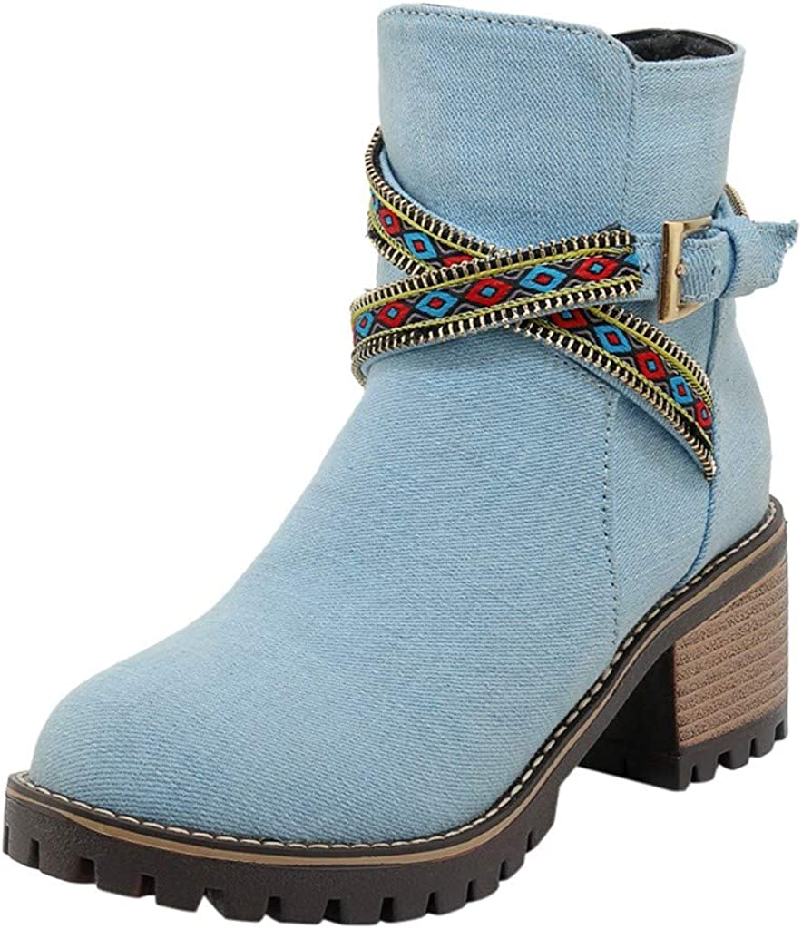 Wadonerful Womens Ankle Boots Round Toe Chunky High Heel Non-Slip Vintage Denim Cross Buckle Zip Shoes Ankle Booties