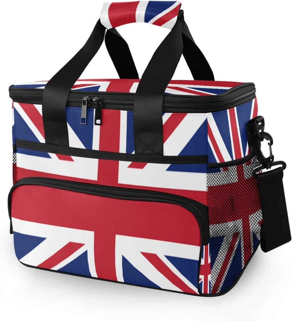 SLHFPX Picnic Insulated Bag British Flag Picnic Basket, BBQ Meat Drinks Beer Wine Cooler Bag 24 Cans, Leakproof Cooler Basket Keep Food Cold/Hot Storage 15L for Camping Travel Men Women