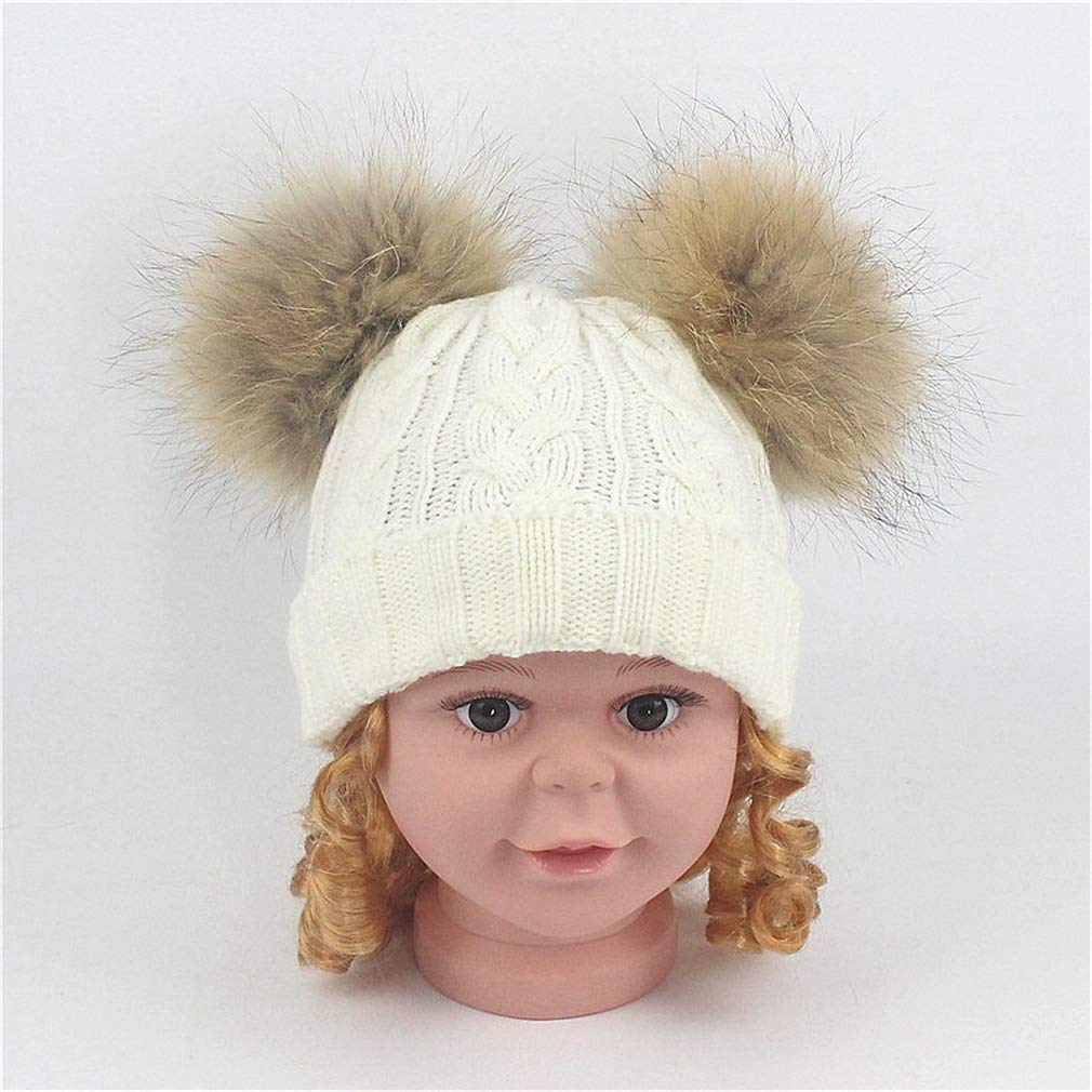 Road/&Cool Beanies Hat Cap Childrens Hair Ball Men and Women Baby Headgear Autumn and Winter Knit Outdoor Travel 48-53cm