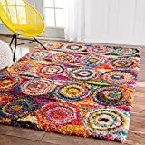 4' x 6' Rainbow Abstract Circles Shag Color Area Rug, Polypropylene Bright Geometric Splash Shaggy Swirling Pattern Geometric Medalion Cute Kids Tween Indoor Bedroom Living Room Accent Carpet
