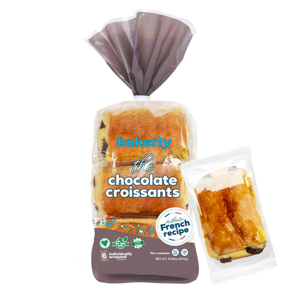 bakerly Chocolate Croissants with Real Chocolate, Non GMO, Free from Artificial Flavors & Colors, Pack of 4, 6-count (24 Total Chocolate Croissants)