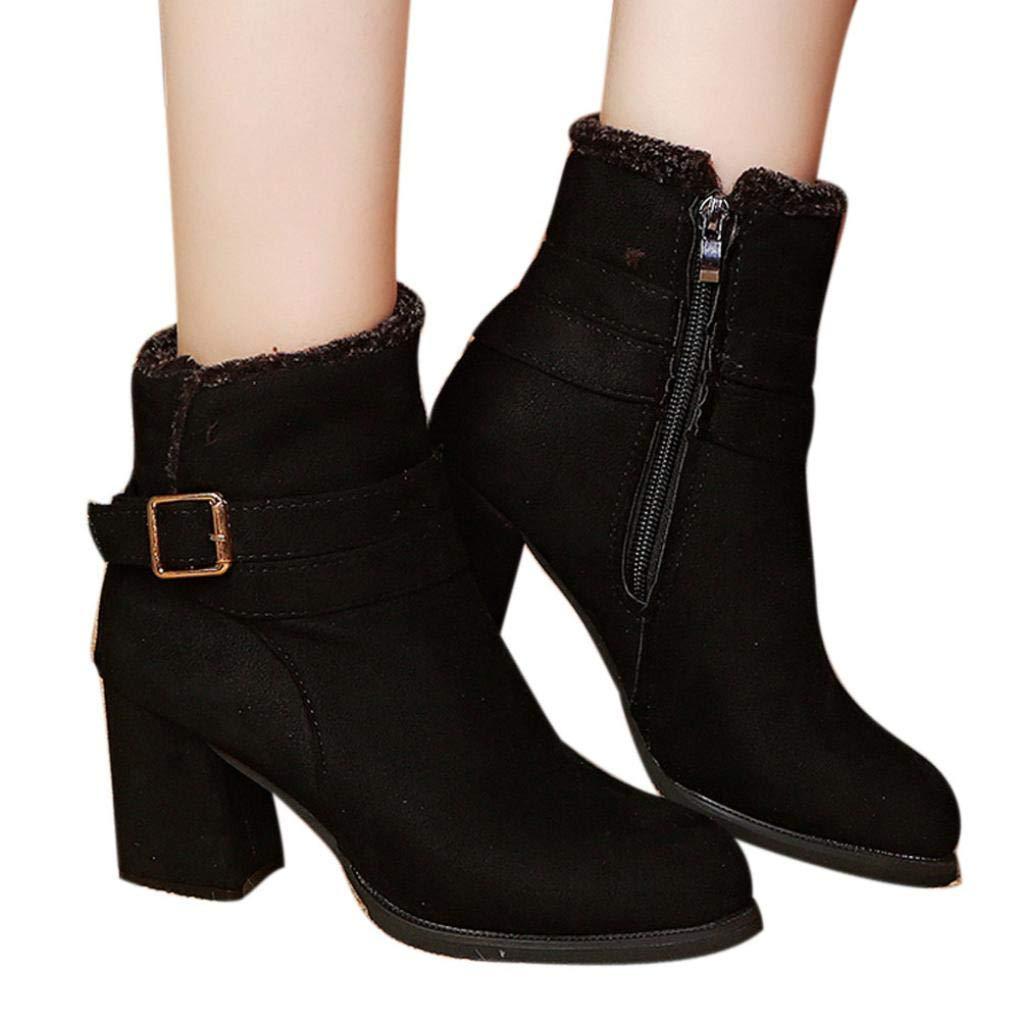 Hemlock Women Ankle Boots High Heels Wedding Bride Shoes Lady Zipper Belt Dress Booties Thick Heel Snow Shoes