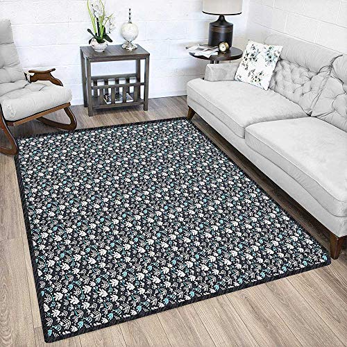 10' College Snowflake - Christmas Non-Slip Area Rug Pad,Winter Doodle Happy New Year Themed Abstract Trees with Snowflakes for Residential or Commercial Use Dark Blue White Pale Blue 79