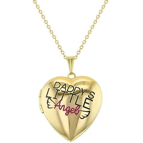 """a2f015d2c9 Collana con ciondolo portafoto a forma di cuore, con scritta """"Daddy's  Little Angel"""""""