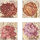 CoasterStone AS10081 Linen Blooms Absorbent Coasters, 4-1/4-Inch, Set of 4