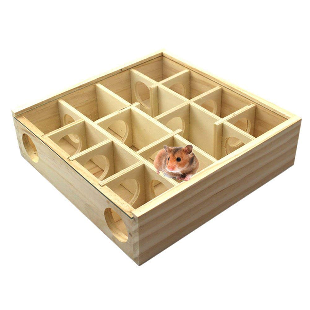 MJuan-clothing,Hamsters Toys Small Pets Accessories,Wooden Maze Tunnel Hole Toy Pet Hamster Rat Mouse Small Animal House Cage Decor - Wood Color by MJuan-clothing