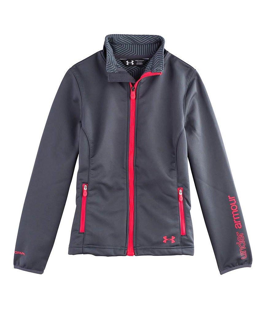 Under Armour Kids Girls UA ColdGear Infrared Softershell Jacket (Big Kids), Lead/Neo Pulse MD (10-12