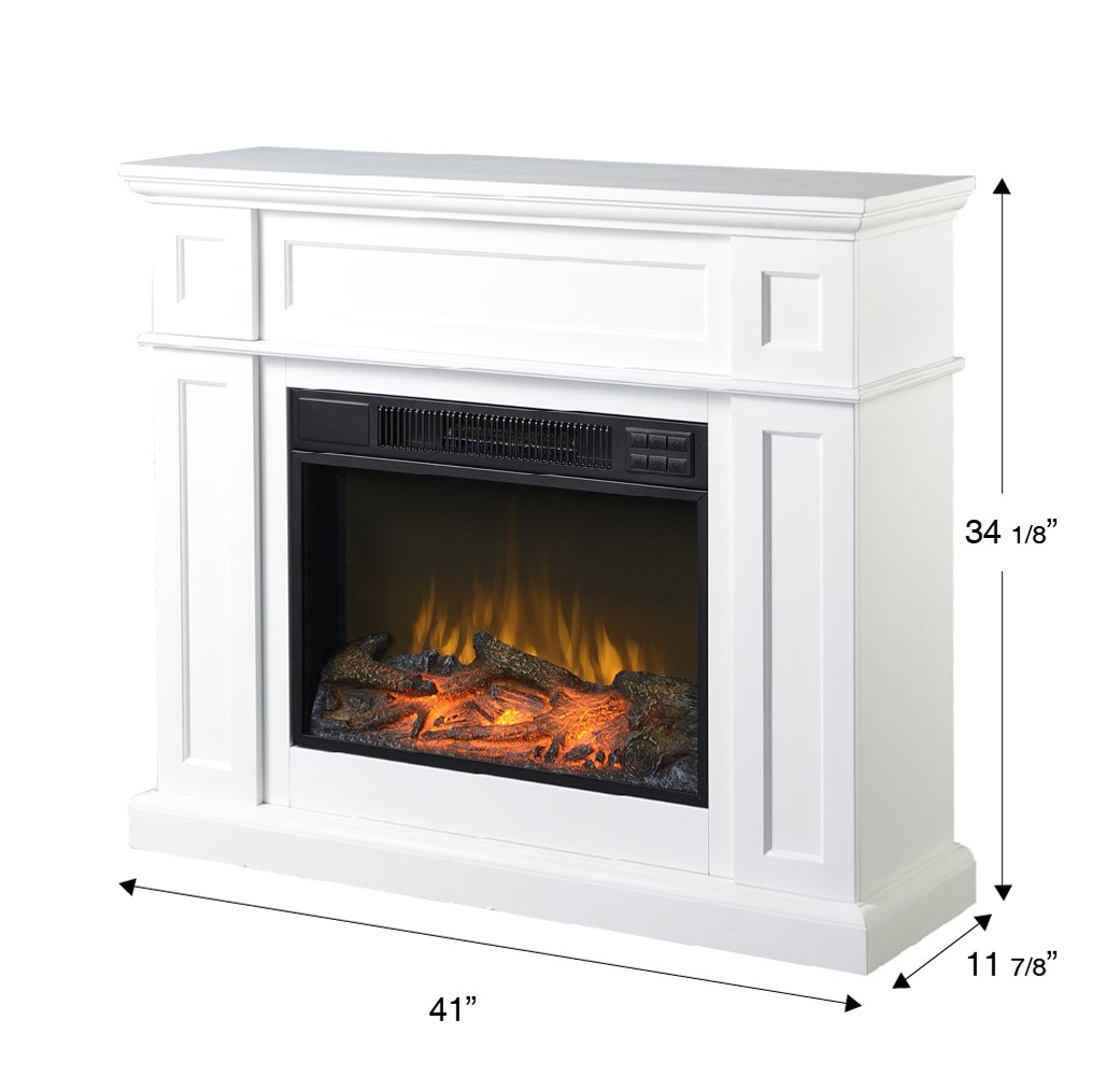 Fire sense black wood wall mounted electric fireplace import it all - Amazon Com Homestar Zcumbria Wide Electric Fireplace Mantel 41 X 11 7 8 X 34 1 8 White Home Kitchen