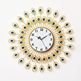 RFVBNM Classic european style home peacock crystal drill iron mute Wall Clock Drawing simple creative walls and hang clocks 6060cm6060cm