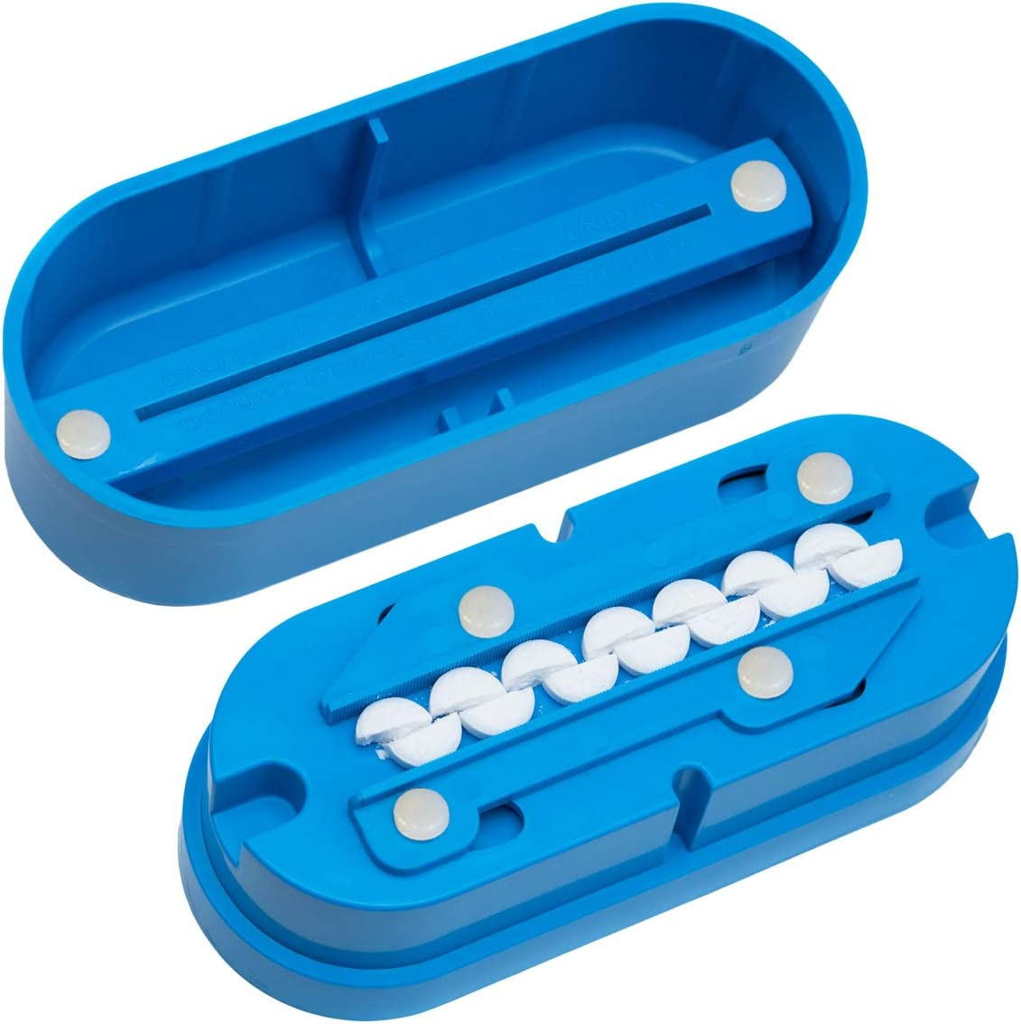 Multiple Pill Splitter. Original Patented Design, with Accurate Pill Alignment, Sturdy Cutting Blade and Blade Guard, for Splitting and Quartering Round or Oblong Pills.US Patent No. 9,827,165.: Health & Personal Care