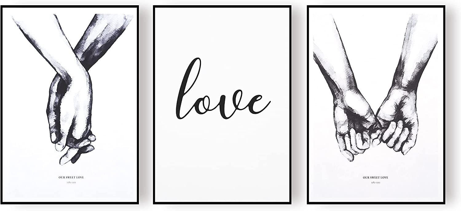 Pictures For Bedroom Wall Decor, Black And White Art,Canvas Prints Wall Art. (Set of 3 Unframed, 8.3x12 inches)