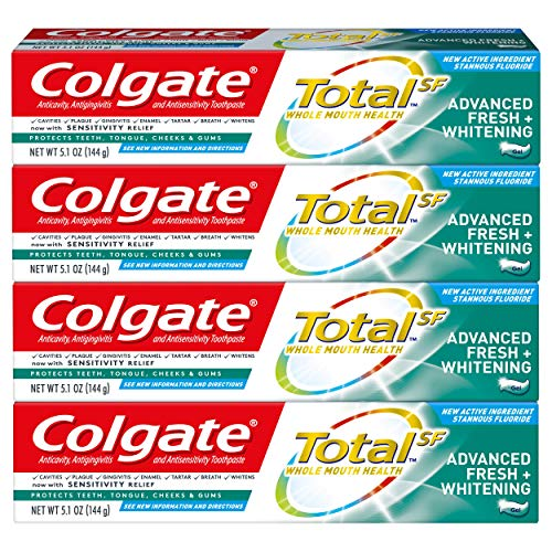 Colgate Total Whitening Toothpaste, Advanced Fresh + Whitening  Gel, 5.1 ounce - 4 pack