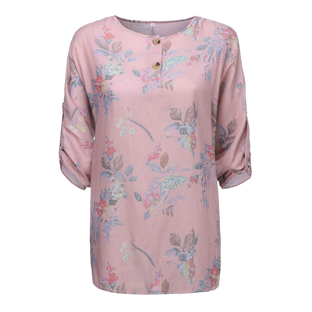Summer Blouses for Women,SMALLE◕‿◕ Women Casual Floral on T-Shirt O-Neck Three Quarter Sleeve Plus Size Tops Pink