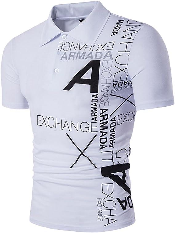 Glestore Hombres Polo Camisetas Contraste Collar Golf Tenis Negro ...