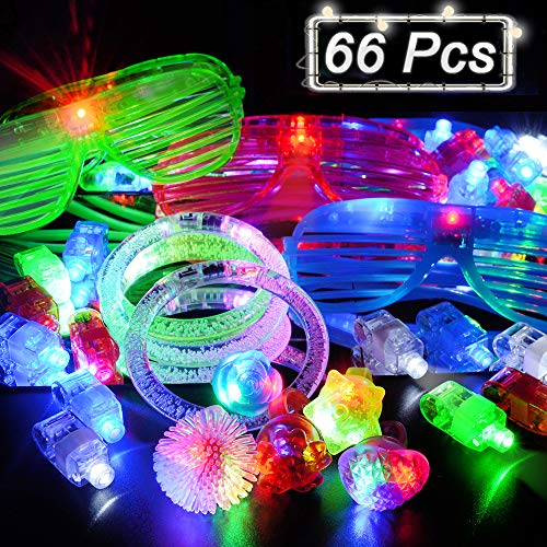 BUDI 66 Pack LED Glow Party Favors for Kids/Adults 50 Light Up Rings + 6 Jelly Bumpy Rings + 5 Flashing Shutter Shade Glasses + 5 Led Bracelets Glow in -