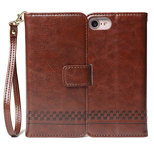 Compatible iPhone 7, iPhone 8, PU Leather Slim Lightweight Case [Magnetic Snap Closure] [Kickstand] Card Holders Wrist Rope 4.7'' - Brown ()