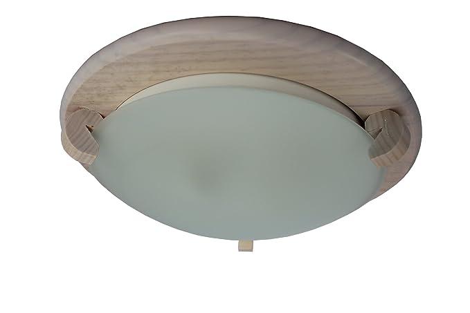 Plafoniere Con Legno : Plafoniera o oblò circolare in legno rosé con vetreria ghiacciato