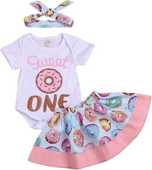 "Baby Girls 1st Birthday Gifts Outfits /""One/"" Print Romper Shirt+Tutu Skirts Set"
