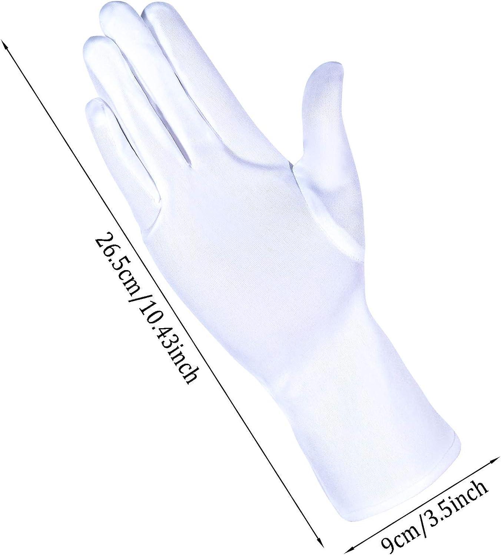 8 Pairs White Nylon Cotton Gloves costume uniform Police Parade Gloves Formal Tuxedo Honor Guard Parade for Women Men