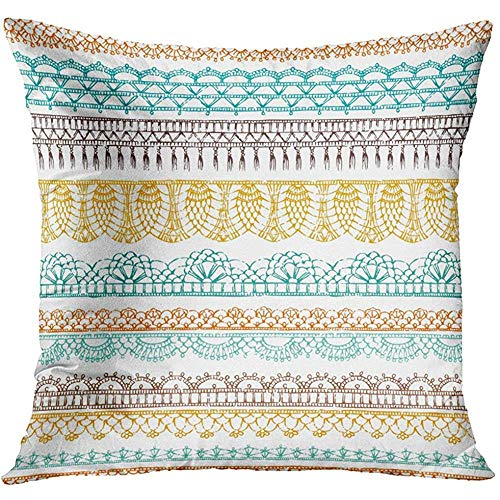 Throw Pillow Cover Border Horizontal Crochet Ethnic Pattern Knitted Lacy on White Boundless Contour Decorative Pillow Case Home Decor Square 18x18 Inches Pillowcase -