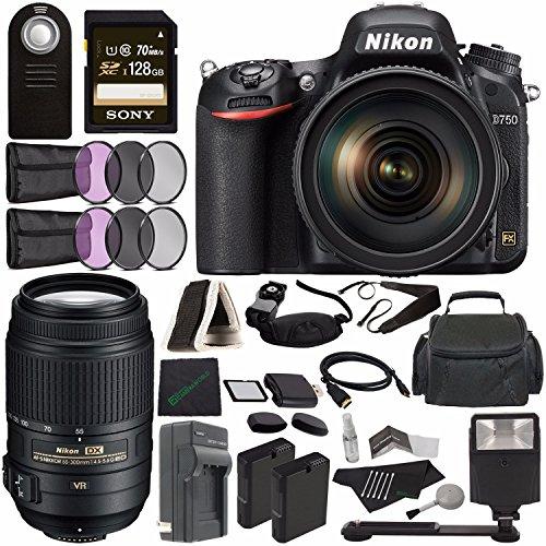 Nikon D750 DSLR Camera with 24-120mm Lens + Nikon AF-S DX NIKKOR 55-300mm f/4.5-5.6G ED VR Lens + Rechargable Battery + Charger + Sony 128GB SDXC Card + HDMI + Case + Remote + Cloth + Flash Bundle