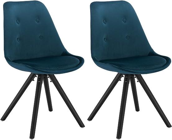 WOLTU BH196bl 2 Chaise de Salle à Manger Lot de 2 siège en Velours Pied en Bois Massif,Chaise de Cuisine Chaise de Salon Bleu