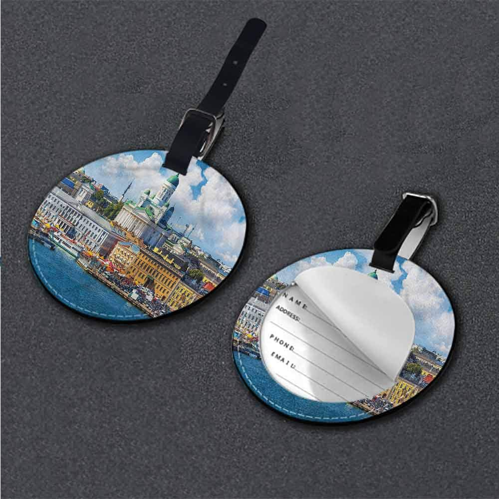 Boarding Tags Luggage Tag European,Lyon City Village France Round Leather Luggage